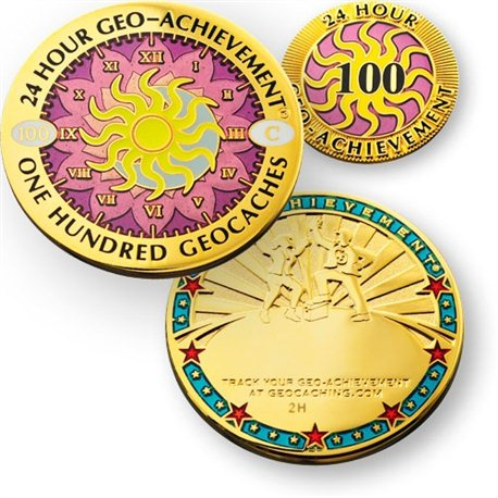 24 Hours 100 Caches Geo-Achievement® Geocoin Set mit Pin