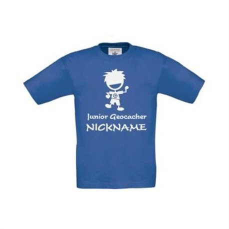 Junior Geocacher Kinder T-Shirt mit Name Blau