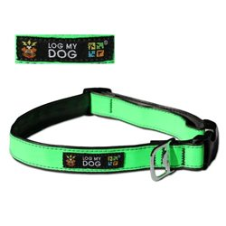 Log my dog collar, reflective green S