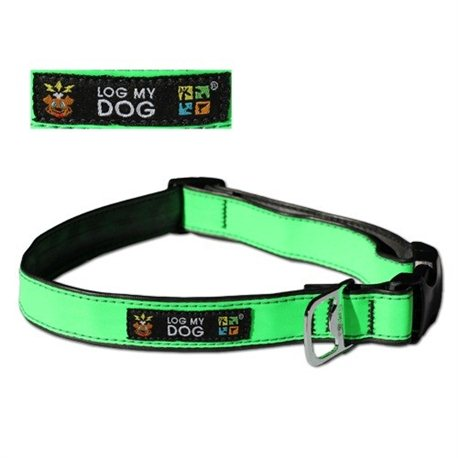 Log My Dog Halsband Reflektierend Grün Small