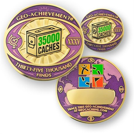 35000 Finds Geo-Achievement® Geocoin Set mit Pin