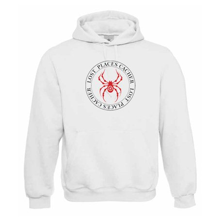 Lost Places Spider, Kapuzen-Pullover (weiss/rot)