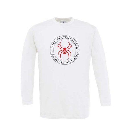 Longsleeve Lost Places Spider Weiss/Rot