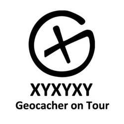 Aufkleber Geocacher On Tour Konturgeschnitten Trackable