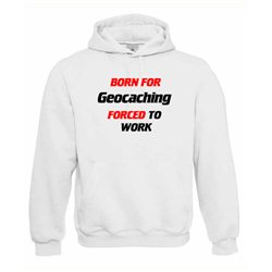 Kapuzenpullover Hoodie Born For Geocaching Weiß