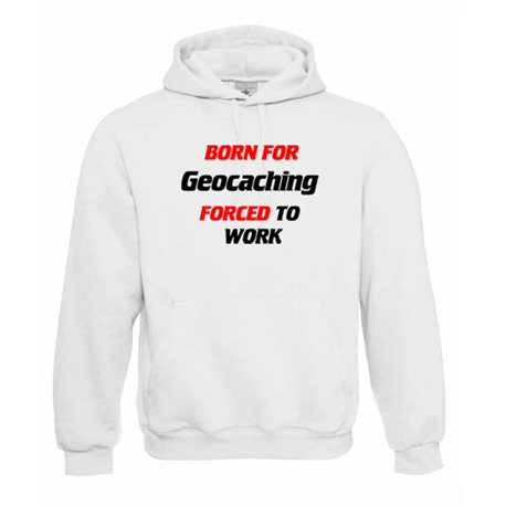 Born for Geocaching, Kapuzen-Pullover (weiss)