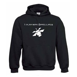 Kapuzenpullover Hoodie I Play With Satellites Schwarz