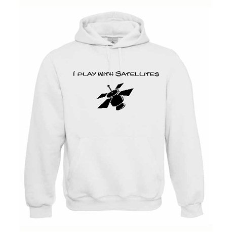 Play with Satellites, Kapuzen-Pullover (weiss)