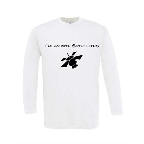 Play with Satellites - Longsleeve (weiss)
