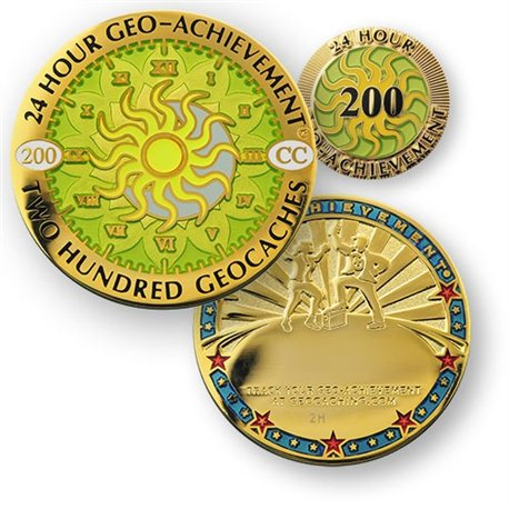 24 Hours 200 Caches Geo-Achievement® Geocoin Set mit Pin