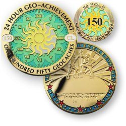 24 Hours 150 Caches Geo-Achievement® Geocoin Set mit Pin
