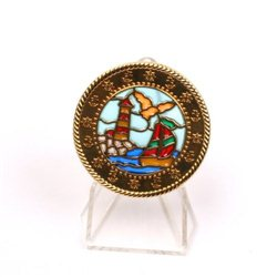Boat Lighthouse Suncatcher Polished Gold LE Geocoin