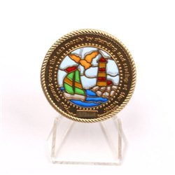 Boat Lighthouse Suncatcher Satin Gold RE Geocoin