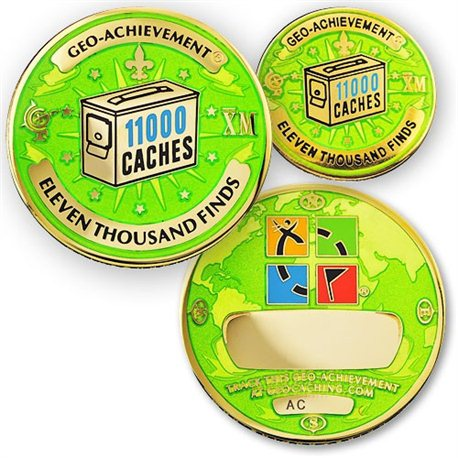 11000 Finds Geo-Achievement® Geocoin Set mit Pin