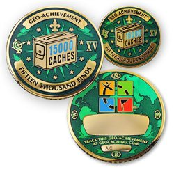 15000 Finds Geo-Achievement® Geocoin Set mit Pin