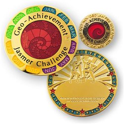 Jasmer Challenge Geo-Achievement® Geocoin Set mit Pin