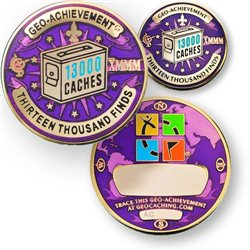 13000 Finds Geo-Achievement® Geocoin Set mit Pin