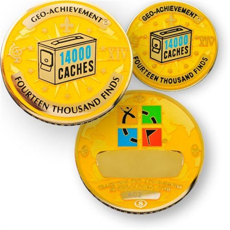 14000 Finds Geo-Achievement® Geocoin Set mit Pin