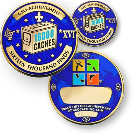 16000 Finds Geo-Achievement® Geocoin Set mit Pin