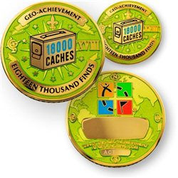 18000 Finds Geo-Achievement® Geocoin Set mit Pin