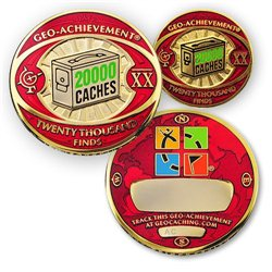 20000 Finds Geo-Achievement® Geocoin Set mit Pin