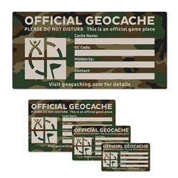 Groundspeak Cache Label Camo Small 4.5 x 8 cm