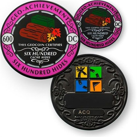 600 Hides - Geo Achievement® Geocoin Set mit Pin
