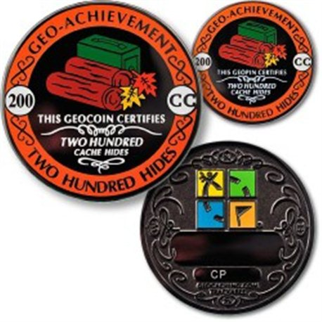 200 Hides - Geo Achievement® Geocoin Set mit Pin