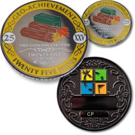 25 Hides - Geo Achievement Geocoin Set mit Pin