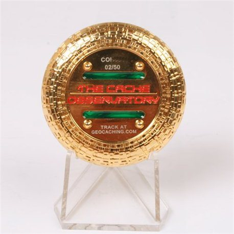 Cache Observatory Polished Gold LE50 Geocoin