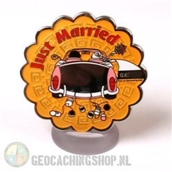 Just married Geocoin - polished nickel
